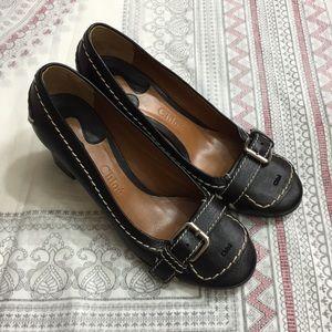 Chloé Black Leather Buckle Heel